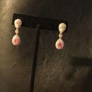 Jewelry - CZ Diamond/Pink Safire Drop pierced Earrings